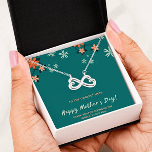 Coolest Mom Infinity Heart Necklace Jewelry 14k White Gold Finish