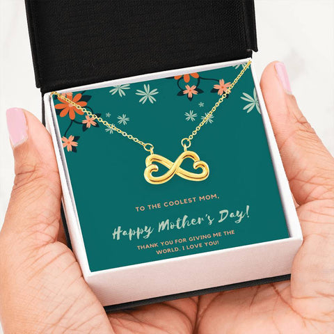 Coolest Mom Infinity Heart Necklace Jewelry 18k Yellow Gold Finish
