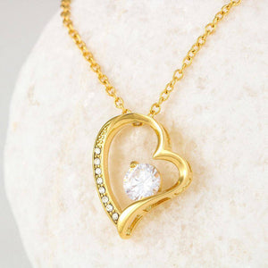 To Wife From Husband - Forever Love Heart Necklace Jewelry 18k Yellow Gold Finish