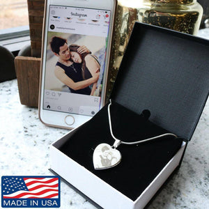 Custom Heart Necklace. Your Photo, Your Love, Your Lasting Memory. Jewelry Photo Etched Heart Necklace (Stainless) No