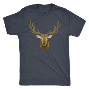 Deer Portrait, Real T-shirt Next Level Mens Triblend Vintage Navy S