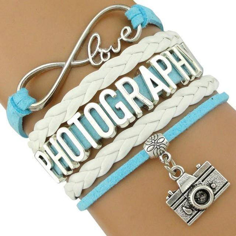 Infinity Love Photography Leather Wrap Charm Bracelets