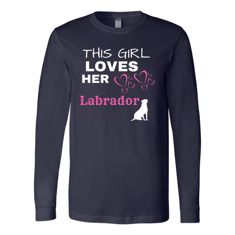 Image of This Girl Loves Her Lab T-shirt Canvas Long Sleeve Shirt Navy S
