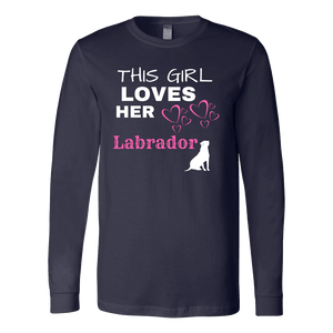 This Girl Loves Her Lab T-shirt Canvas Long Sleeve Shirt Navy S