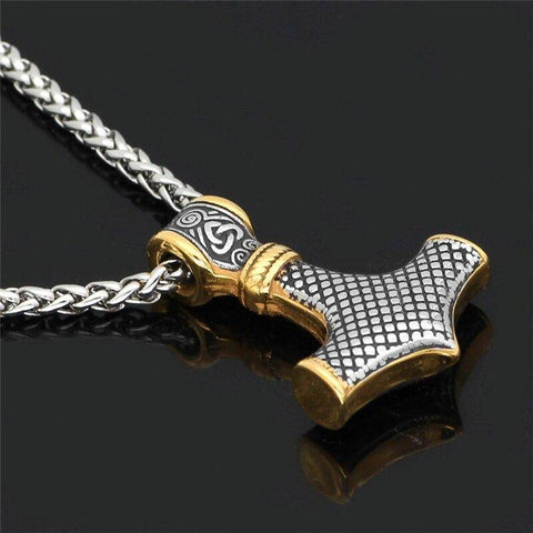Thor's Hammer, Mjolnir - Handcrafted In Stainless Steel with Gold Accents Necklace