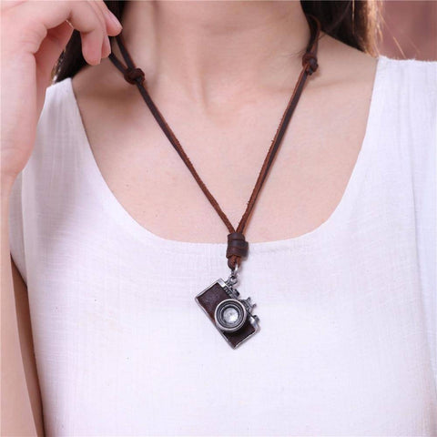 Image of HANDMADE VINTAGE CAMERA LEATHER NECKLACE Pendant Necklaces
