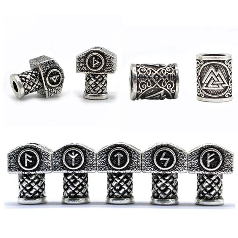 Antique Silver Viking Runes and Hammers Beads