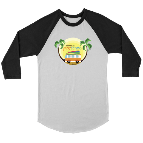 Image of Newbreak Playschool Raglan Shirt T-shirt Canvas Unisex 3/4 Raglan White/Black S