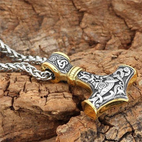 Image of Thor's Hammer, Mjolnir - Handcrafted In Stainless Steel with Gold Accents Necklace