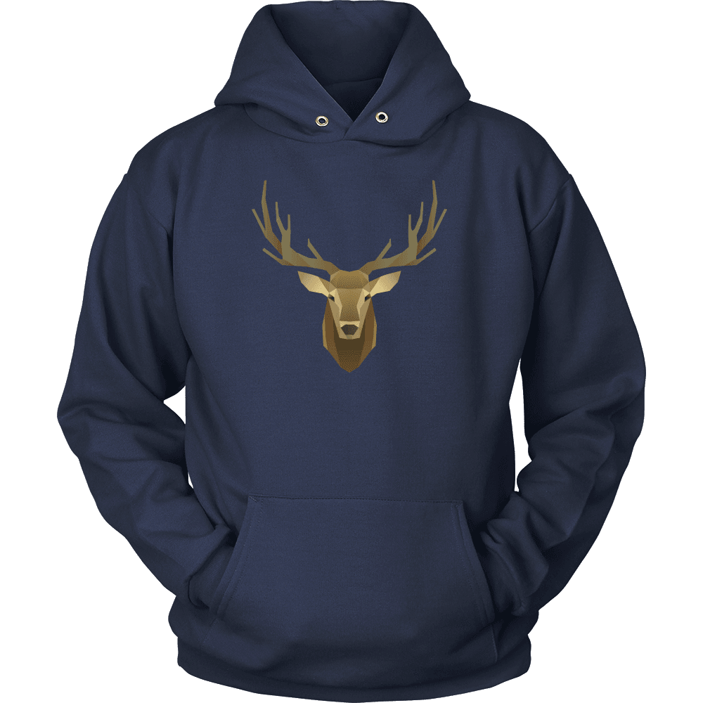 Deer Portrait, Real T-shirt Unisex Hoodie Navy S