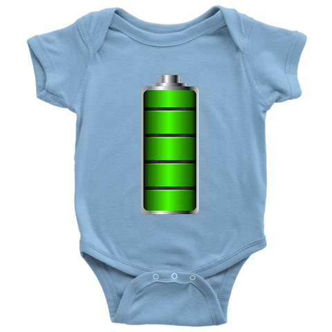Image of Fully Charged Onsies T-shirt Baby Bodysuit Light Blue NB