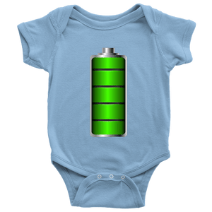 Fully Charged Onsies T-shirt Baby Bodysuit Light Blue NB