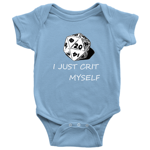 Image of I Just Crit Myself Onsies T-shirt Baby Bodysuit Light Blue NB