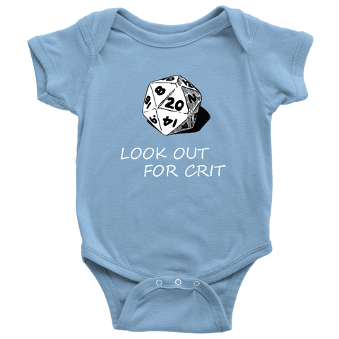 Image of Look Out For Crit Onesies T-shirt Baby Bodysuit Light Blue NB