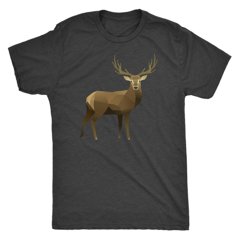 Real Polygonal Deer T-shirt Next Level Mens Triblend Vintage Black S