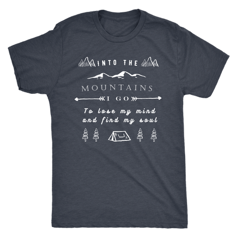 Image of Into the Mountains I Go T-shirt Next Level Mens Triblend Vintage Navy S