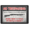 No Trespassing, Speak 12 Gauge Door Mat Doormat Black