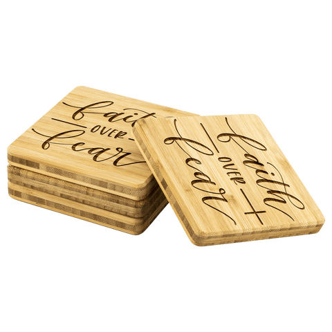 Image of Faith over Fear Handmade Bamboo Coasters Coasters