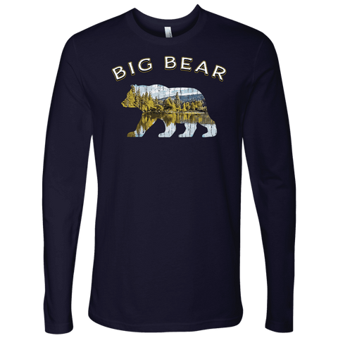 Image of Big Bear V.1 Men's Shirts T-shirt Next Level Mens Long Sleeve Midnight Navy S