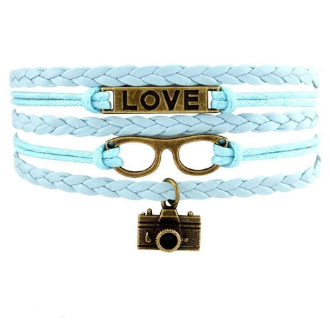 Infinity Love Photography Leather Wrap Charm Bracelets B0982
