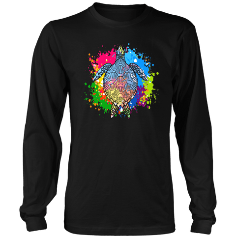 Image of Vibrant Color Splash Sea Turtle T-shirt District Long Sleeve Shirt Black S