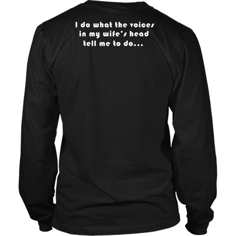 Image of Voices in Her Head | White Print T-shirt District Long Sleeve Shirt Black S
