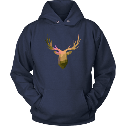 Image of Deer Polygonal 2 T-shirt Unisex Hoodie Navy S