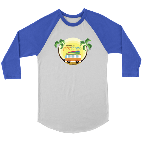 Image of Newbreak Playschool Raglan Shirt T-shirt Canvas Unisex 3/4 Raglan White/Royal S