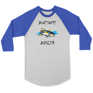 You're An Awesome Angler | V.2 Chiller T-shirt Canvas Unisex 3/4 Raglan White/Royal S