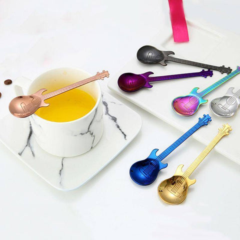 Stainless Steel Guitar Shape Coffee Spoons Coffee Scoops