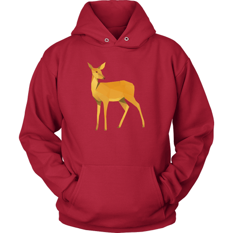 Image of Polygonal Doe T-shirt Unisex Hoodie Red S