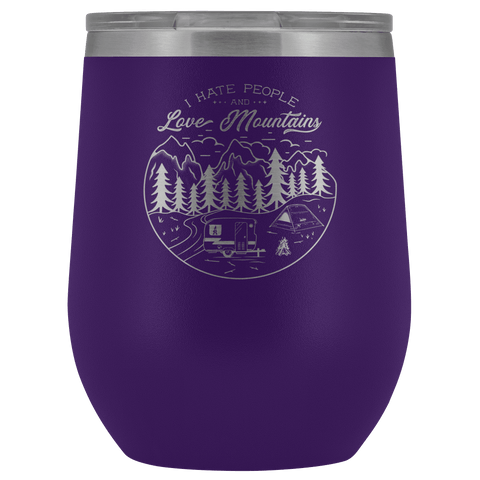 Love The Mountains | Wine Tumbler Wine Tumbler Purple