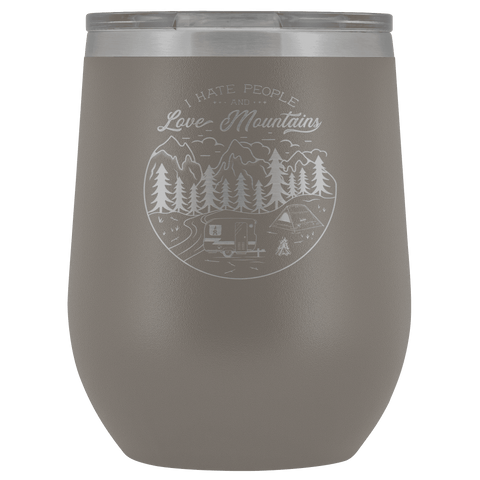 Image of Love The Mountains | Wine Tumbler Wine Tumbler Pewter