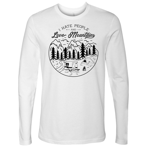 Image of Love The Mountains Mens T-shirt Next Level Mens Long Sleeve White S