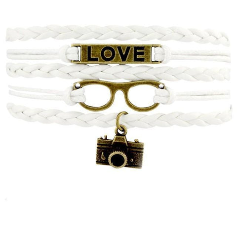 Image of Infinity Love Photography Leather Wrap Charm Bracelets B0983