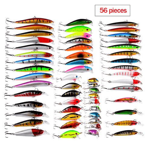 Image of 56Pcs Fishing Lures Set | Minnows and Shad Crankbaits