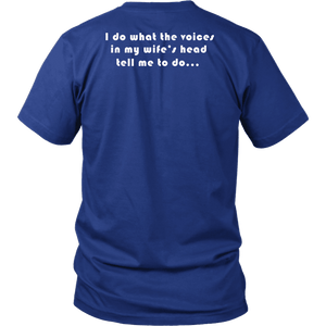 Voices in Her Head | White Print T-shirt District Unisex Shirt Royal Blue S