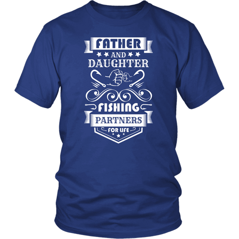 Image of Father and Daughter Fishing Partners T-shirt District Unisex Shirt Royal Blue S