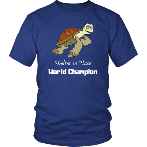Image of Shelter In Place World Champion, White Print T-shirt District Unisex Shirt Royal Blue S