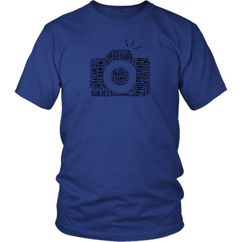 Image of Awesome Word Camera Shirt T-shirt District Unisex Shirt Royal Blue S