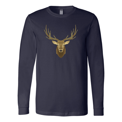 Image of Deer Portrait, Real T-shirt Canvas Long Sleeve Shirt Navy S