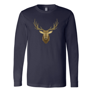 Deer Portrait, Real T-shirt Canvas Long Sleeve Shirt Navy S