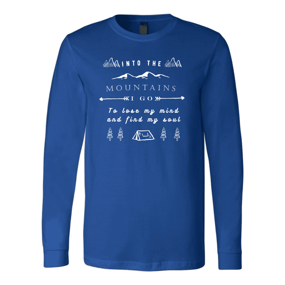 Into the Mountains I Go T-shirt Canvas Long Sleeve Shirt Royal S