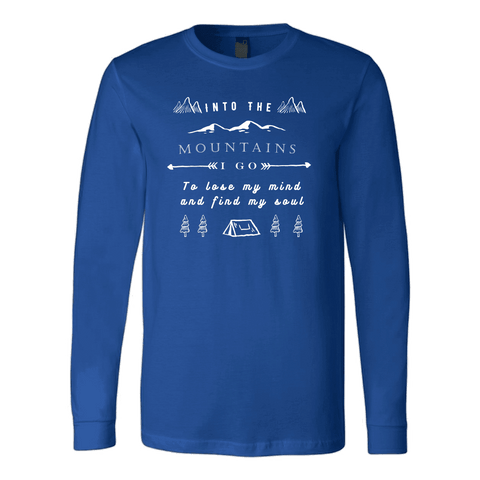 Image of Into the Mountains I Go T-shirt Canvas Long Sleeve Shirt Royal S