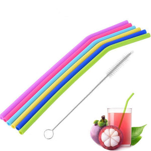 6PCS Food Grade Silicone Reusable Drinking Straws Drinking Straws