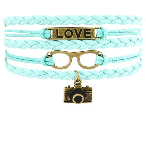 Image of Infinity Love Photography Leather Wrap Charm Bracelets B0984