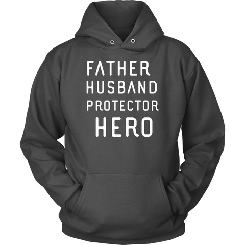 Image of Father Husband Protector Hero White Print T-shirt Unisex Hoodie Charcoal S