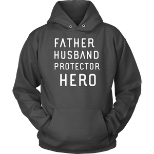 Father Husband Protector Hero White Print T-shirt Unisex Hoodie Charcoal S