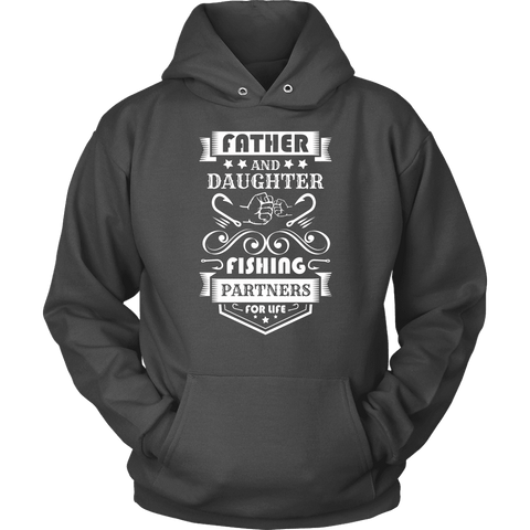 Image of Father and Daughter Fishing Partners T-shirt Unisex Hoodie Charcoal S