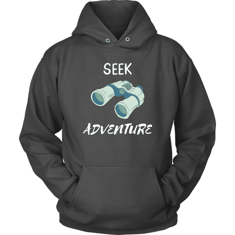 Image of Seek Adventure with Binoculars (Womens) T-shirt Unisex Hoodie Charcoal S